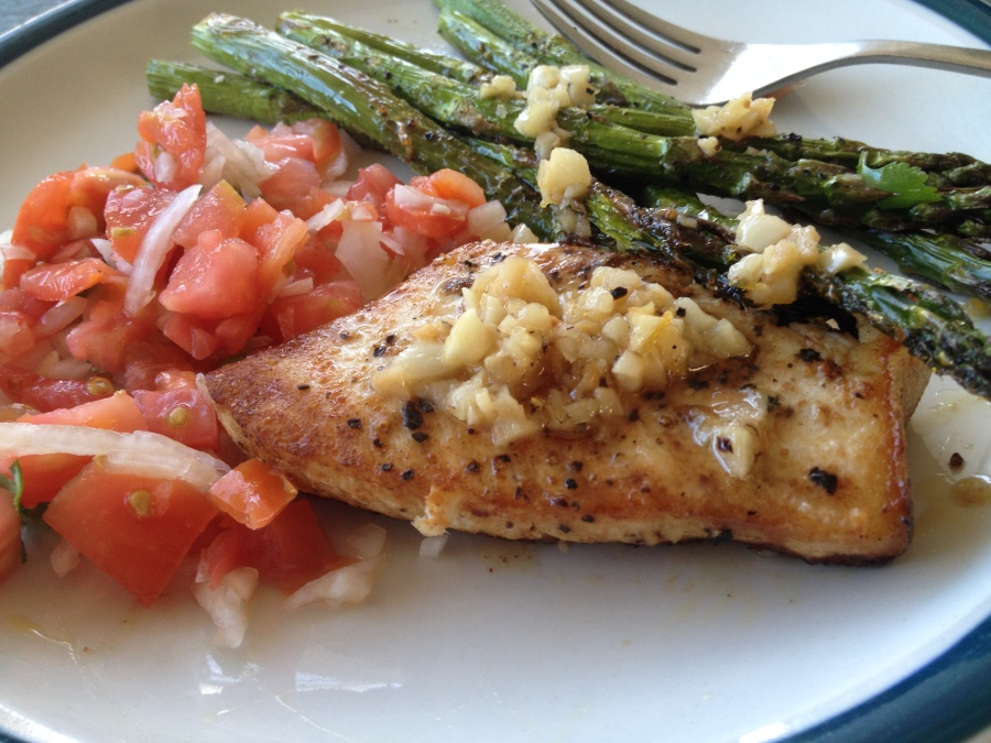 Swordfish with Lemon-Garlic Sauce and Tomato Relish, Plus Asparagus