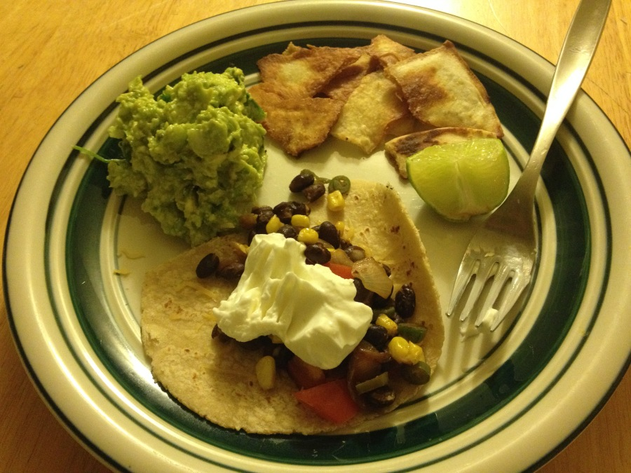 Tacos with Guacamole and Chips